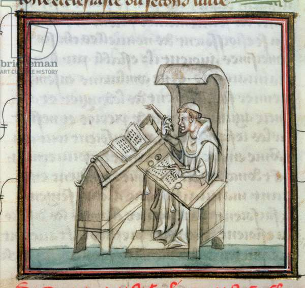 Landsdowne 1179 f.34v Scribe at his desk comparing two books, from Le Miroir Historiale, c.1340 (vellum)