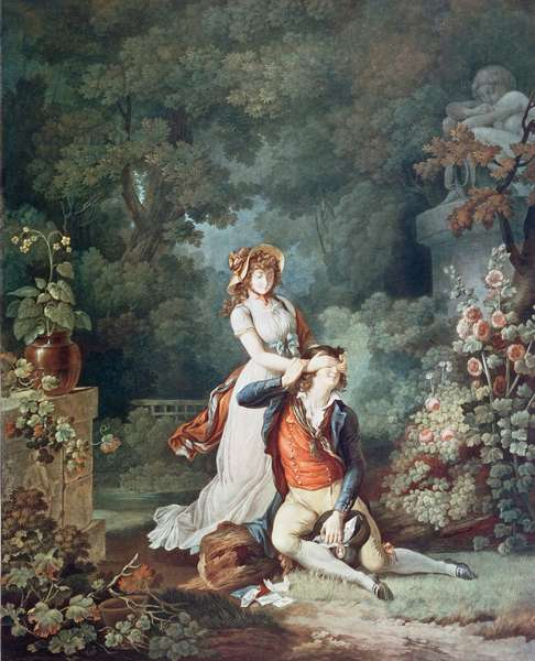The Lover Surprised, engraved by Charles Melchior Descourtis (1753-1820) (colour engraving)
