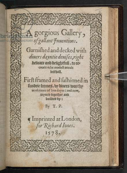 Title page of 'A Gorgious Gallery of Gallant Inuentions' by Thomas Proctor, 1578 (engraving)