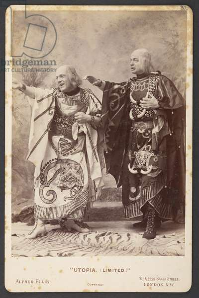 Prudent judges of the Utopian Supreme Court. W.H. Denny as Scaphio and John le Hay as Phantis in Act I, The First Performance of Gilbert and Sullivan's Comic Opera 'Utopia, Limited', 1893 (b/w photo)
