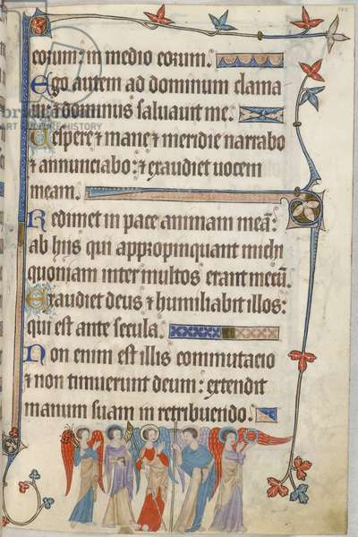Add. 42130, f.102, Psalm 54, symbols of the Passion, from 'Luttrell Psalter', c.1325-35 (vellum)