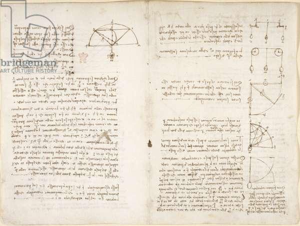 Arundel 263, f.10v, f.5 Notes and diagram on mechanics, 1508 (pen & ink on paper)