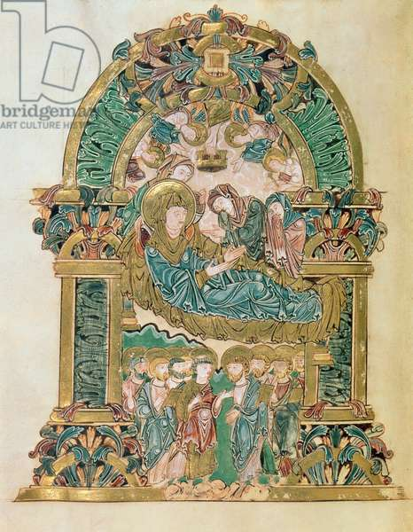Add 49598 f.102v Assumption of the Virgin, from the Benedictional of St. Aethelwold, Winchester, c.980 (vellum)