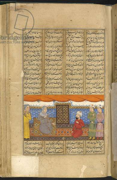 Or. 1403, f.323r: Nushaba recognising Iskandar who is disguised as a merchant, from 'The Shahnameh', a long epic poem written by the Persian poet Ferdowsi, 1437 (vellum)