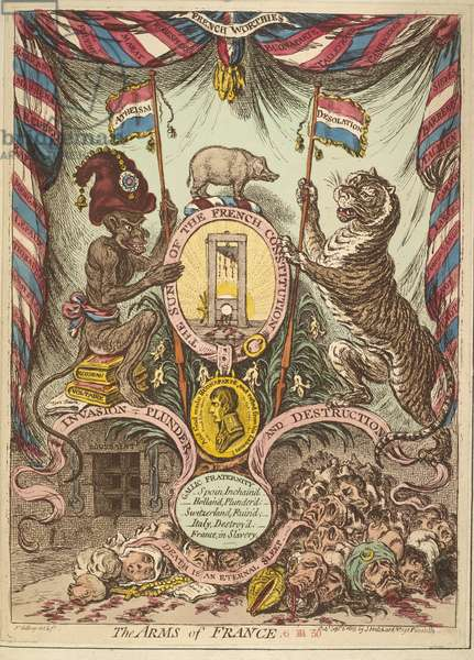 The Arms of France, illustration from 'Loyal and patriotic hand-bills, songs, addresses, etc. on the threatened invasion of Great Britain by Bonaparte' published London, 1803 (coloured engraving)