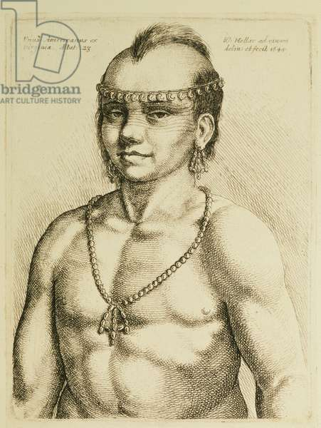 Virginian Indian from 'Hollar's Foreign Portraits', 1645 (engraving)