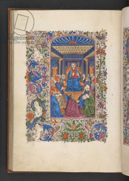 Add MS 50004 f.53v Christ amongst the Doctors, from a 'Book of Hours' (ink, colour & gold on vellum)