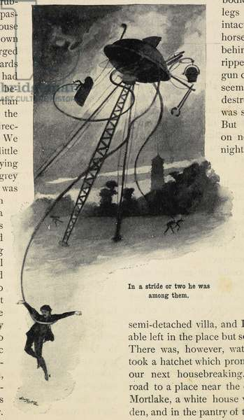 A human caught by the tentacles of a Martian tripod. An illustration from 'War of the Worlds', by H.G. Wells.