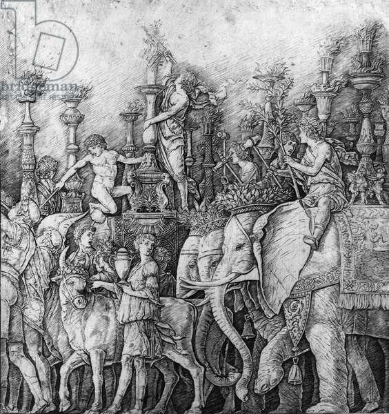 Triumph of Caesar Fresco - detail 2 (b/w engraving of fresco)