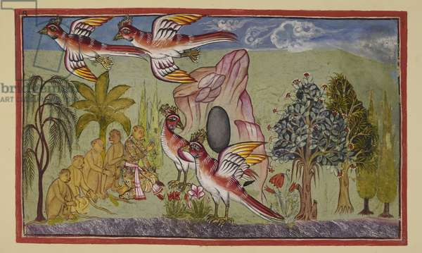Add 15296 (2) f.74r, Sampati's wings grow again, in accordance with the prophecy that they would do so when he had rendered a service to the world by learning where Sita had been taken, thereby enabling Rama to recover her. The monkeys exclaim in wonder as he flies around the mountain.