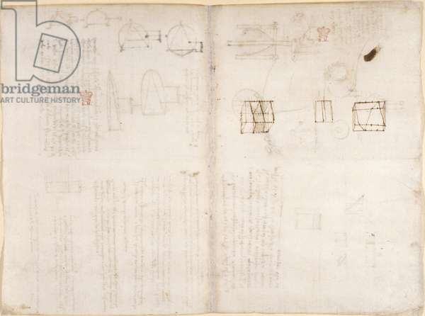 Arundel 263, f.130v, f.133 Blank page with diagrams, from 'Codex Arundel' (pen & ink on paper)