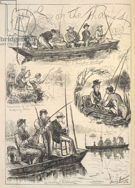 'Fishing on the Thames', Front Page of 'Illustrated Sporting and Dramatic News', 28th October 1876 (litho)
