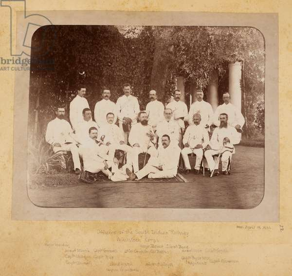 Officers of the South Indian Railway Volunteer Corps. A group portrait probably taken at Trichinopoly
