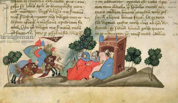 Add 27376 f.45 Fighting in the Holy Land, from 'Liber Secretorum Fidelium Crucis' by Marino Sanudo, c.1320-25 (vellum)