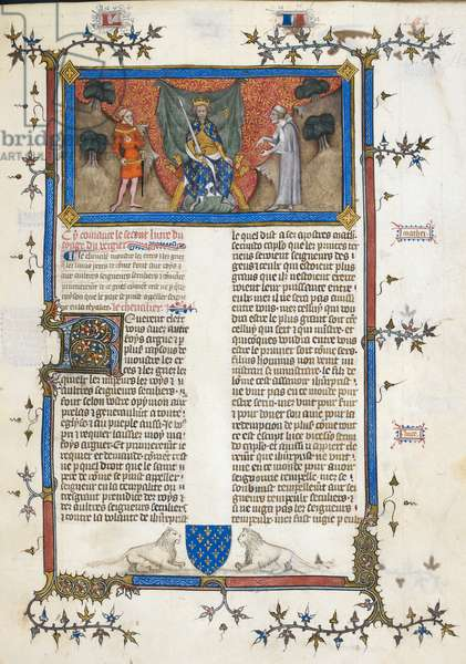 Miniature shows King Charles V of France enthroned, with a crown, sword and sceptre, between the Knight and the Clerk