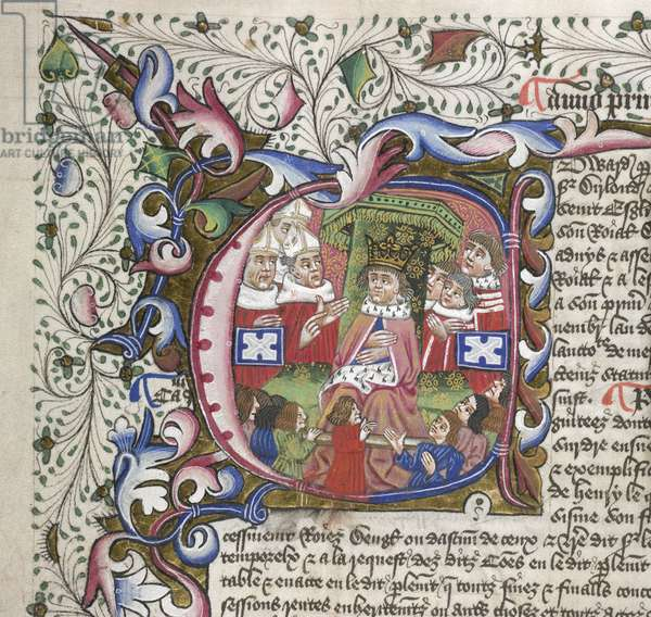 Add. 15728, f.222v, Initial 'E', King Edward IV, from Statutes of the Realm (vellum)