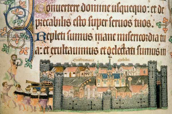 Add 42130 f.164v City of Constantinople with musicians emerging from the gates, from the 'Luttrell Psalter', c.1325-35 (vellum)