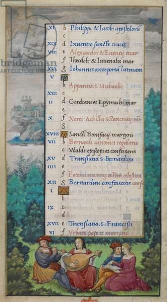 Whole folio) Calendar page for May. Gemini; historiated border with wooded landscape, a couple playing a flute and lute and another couple with a book, singing