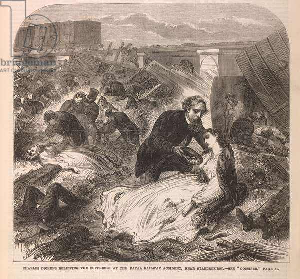 Charles Dickens relieving the sufferers at the fatal railway accident, near Staplehurst'. The Staplehurst rail crash was a derailment at Staplehurst, Kent on 9 June 1865 at 3: 13 pm. The South Eastern Railway Folkestone to London boat train derailed while crossing a viaduct where a length of track had been removed during engineering works, killing ten passengers and injuring forty. Charles Dickens was travelling with Ellen Ternan and her mother on the train; they all survived the derailment. He tended the victims, some of whom died while he was with them. The experience affected Dickens greatly; he lost his voice for two weeks and afterwards was nervous when travelling by train, using alternative means when available. Dickens died five years to the day after the accident; his son said that he had never fully recovered.