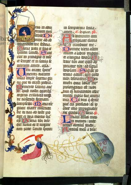 Eg 1070 f.33 Text and illuminations with angel, from the Book of Hours of Rene of Anjou (vellum)