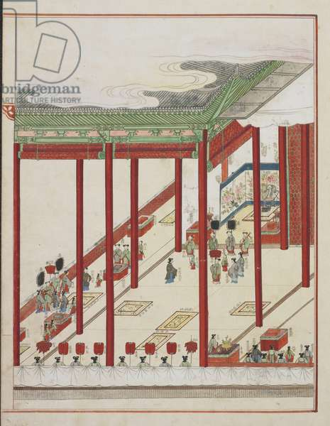Korean Court Ritual, page from 'Kisa chinpyori chinch'an uigwe' (Commerorative album of the ceremonies of the Kisa year), 1809 (ink & colour on paper)