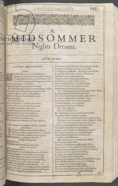 First page of Act I of 'A Midsummer Night's Dream' by William Shakespeare, printed by Isaac Iaggard, and Ed. Blount, London, 1623