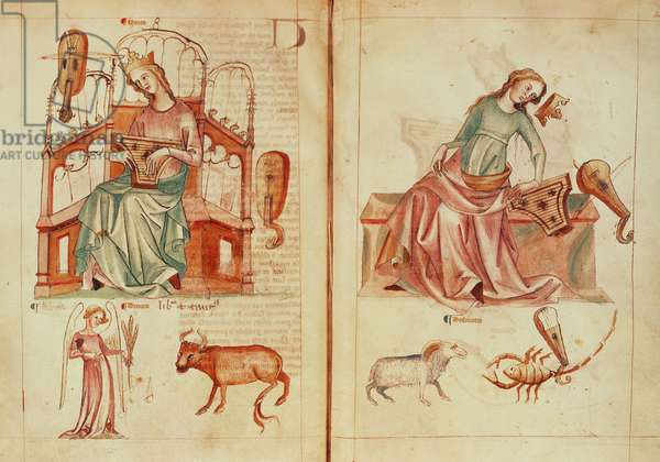 Sloane MS 3983 fol.42v-43 Venus playing an instrument with her ruling signs and in detriment, from 'Liber Astrologiae' (vellum)
