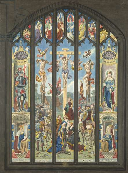 The stained-glass east window; in the left panels Henry VII and above him St George, and in the right panels queen Elizabeth and St Katharine; the centre panels depict the Crucifixion