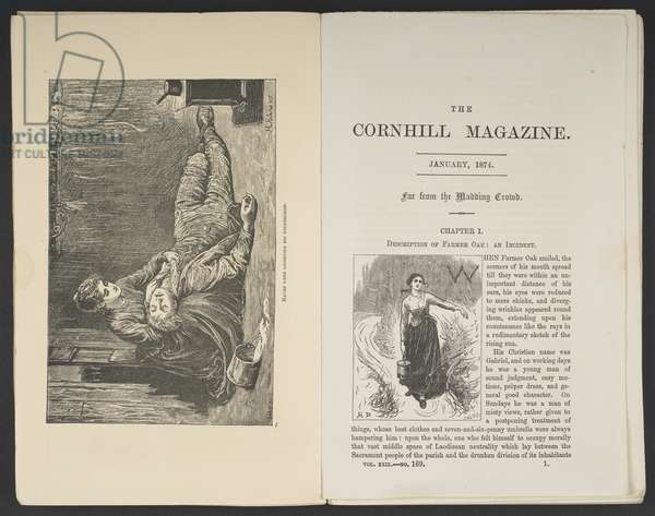 The opening pages for The Cornhill Magazine, with illustrations from the serialisation of 'Far from the Madding Crowd' by Thomas Hardy, January 1874 (engraving)