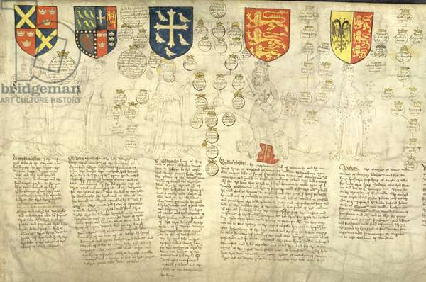 Warremundus, of the royal blood of the Saxons, from 'The Rous Roll', Illustrated roll-chronicle by John Rous, 1483-85 (vellum)