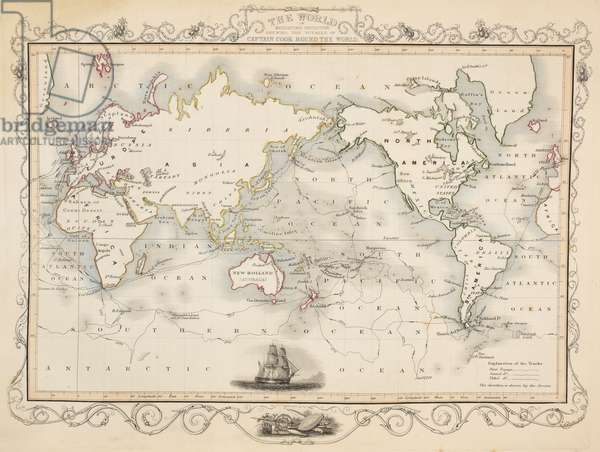A map of the world showing the voyages of Captain Cook