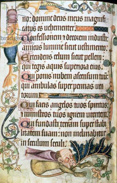 Add 42130 f.182v Psalm 103 with grotesques, from the 'Luttrell Psalter', c.1325-35 (vellum)
