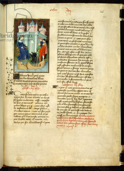 Harley 4431, f.140r Miniature of the sorceress Circe changing Ulysses and his companions into swine, in 'L'Épître Othéa', from 'Book of the Queen', by Christine de Pizan, c.1410-14 (vellum)