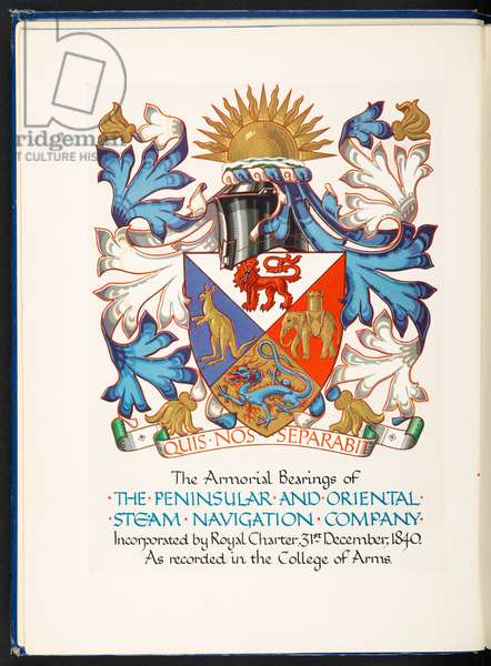 Frontispiece of 'The Armorial Bearings of the Peninsular and Oriental Steam Navigation Company incorporated by Royal Charter, 31st December 1840, 1937 (colour litho)