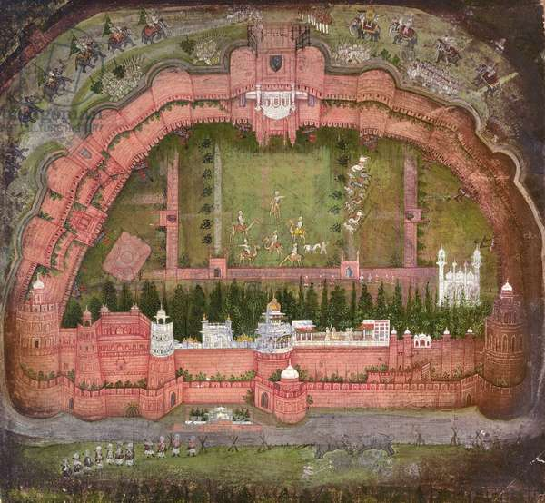 The Red Fort, Agra, Johnson Album VII no.1 numbered 11, c.1750 (gouache on paper)