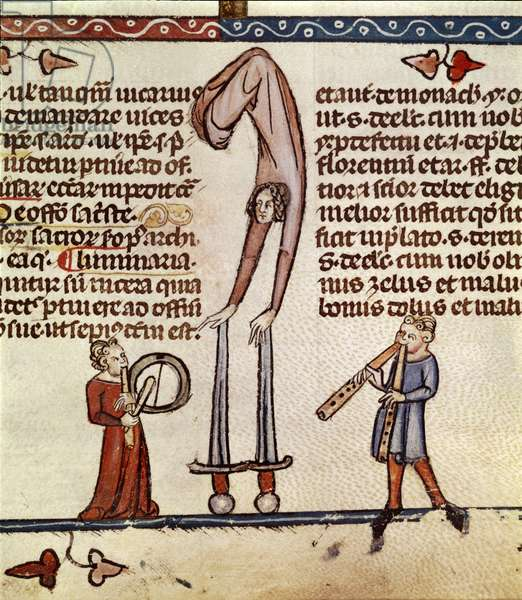 Roy 10 E IV Musicians and an acrobat, from the Smithfield Decretals, c.1340 (vellum)