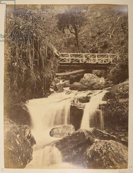 Bridge at Rungbee. From 'Views of Darjeeling', 1870s (b/w photo)