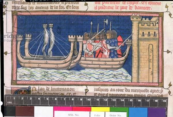Roy 16 G VI f.409v Attack on Damietta in Egypt during the Crusades, 1248 (vellum)