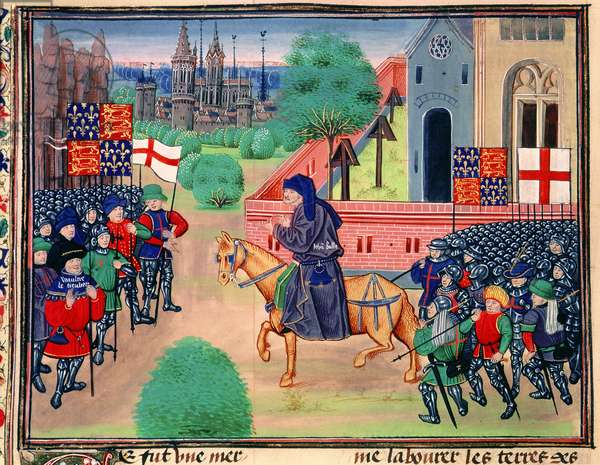 Roy 18 E I f.165v Peasants revolt showing the banners of England and St. George, John Ball shown leading the rebels, illustration from 'Chroniques de France et d'Angleterre', by Jean Froissart, c.1460-80 (vellum)