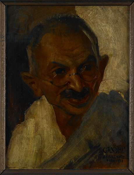 Mohandas Karamcand Gandhi (1869-1948), 1931 Head and shoulders portrait of Gandhi wearing spectacles and a shawl. This portrait study of the Indian political leader and social reformer was made during the course of Gandhi's visit to London in 1931 to act as the plenipotentiary representative of the Indian National Congress at the Second Round Table Conference. He made himself available for artists for one day in Novemember 1931.