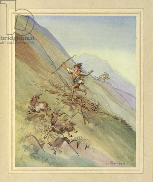 Chasing goats, from 'The Admirable Crichton' by J. M. Barrie, 1914 (colour litho)
