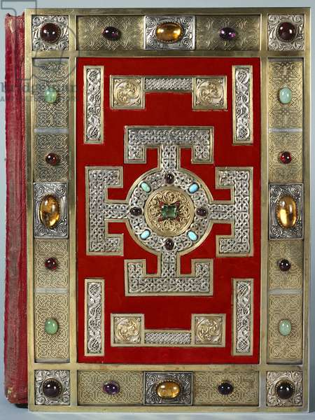 Cotton Nero D.IV Binding of the Lindisfarne Gospels, rebound in 1853 (leather with gold & semi-precious stone)