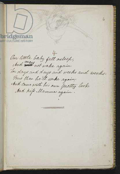 Ashley MS 1371 f.6r, Manuscript of 'Sing Song', a collection of nursery rhymes by Christina Rossetti, 1872 (ink on paper)