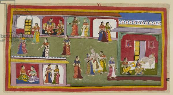 Add 15296 (1) f.58r, The king is helped back into his palace by his queens. He repudiates Kaikeyi, telling her to dwell in the palace as a widow as he does not want to see her again, and is helped to bed by Kausalya and Sumitra, while the lesser queens mourn in their own apartments. Sumitra consoles Kausalya that she shall see her son again.