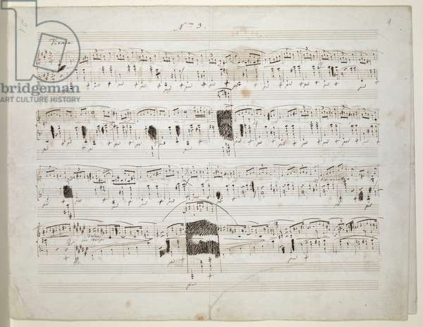 Zweig MS 26 f.1r Mazurka in F sharp minor for piano, op. 59, no. 3 by Frederic Chopin, 1845 (ink on paper)