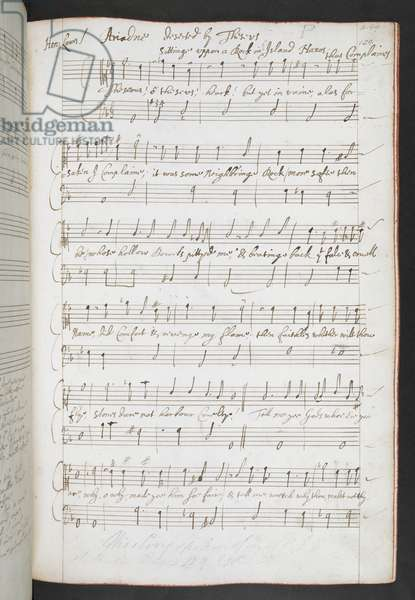 Add. 58723 124r Songs by Henry Lawes, Gentleman of the Chapel Royal c.1626-1662 (ink on paper)