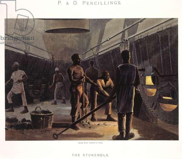 The stokehole. Seedie Boys fireman at work