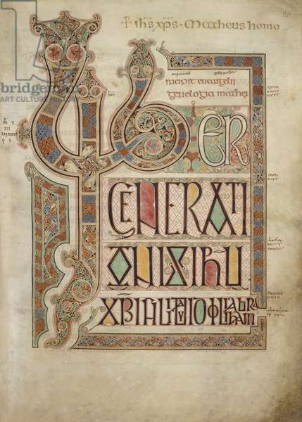 Incipit page to St. Matthew's Gospel. Text with decorated letters 'LIB'. Decorated borders, from the Lindisfarne Gospels, 710-21 (vellum)