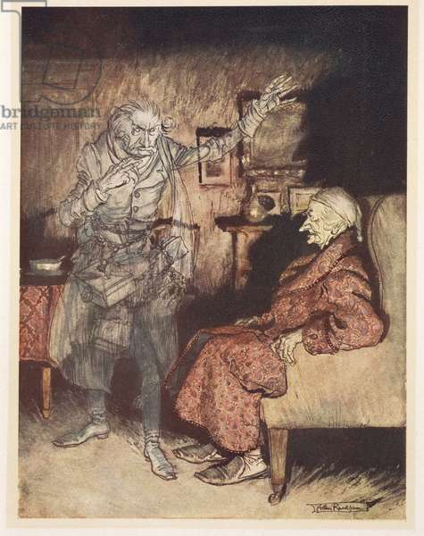 Illustration of Scrooge with the Ghost of Christmas Past