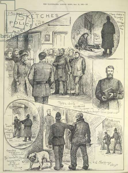 'Murder sketches with the Police at the East End'. Suspects being arrested during the time of the Whitechapel or 'Jack the Ripper' murders